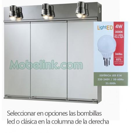 armario con espejos inox 3 aplique LED romi 3 puertas grande