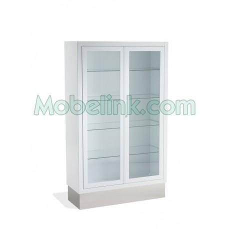 vitrina clínica con 2 puertas y zócalo inox