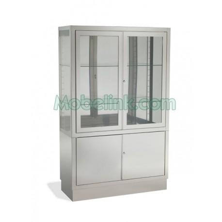 vitrina hospitalaria en acero inoxidable y con 4 puertas