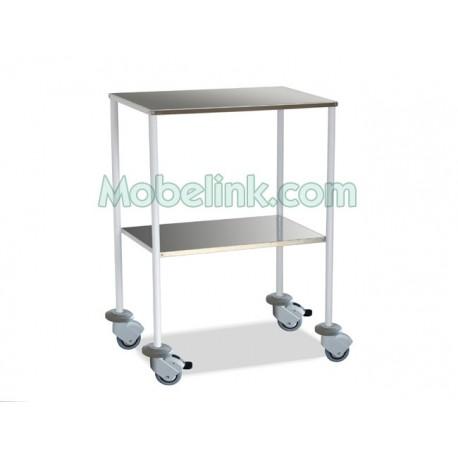 mesa auxiliar clínica blanca 2 entrepaños inox y las ruedas con paragolpes