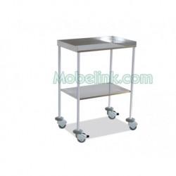 mesa auxiliar clínica blanca con 2 ntrepaños lisos superior barandilla y con paragolpes