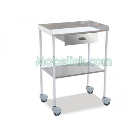 mesa auxiliar para hospitales blanca 1 cajón 2 entrepaños lisos y superior con barandilla
