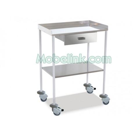 mesa auxiliar clínica blanca con 1 cajón 2 estantes lisos superior barandilla y paragolpes