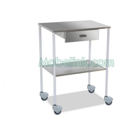 mesa auxiliar clínica blanca con un cajón y dos entrepaños lisos