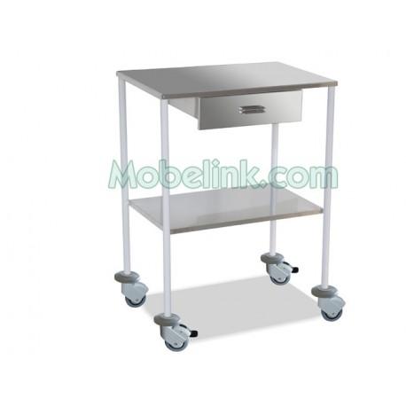 mesa clínica blanca con un cajón y con paragolpes