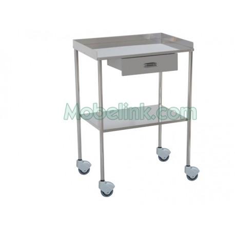 mesa auxiliar clínica cromada con un cajón 2 lisos