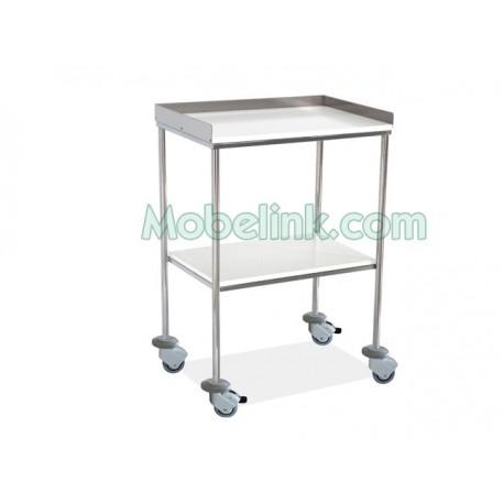 mesa clínica con dos estantes de melamina barandilla y con paragolpes