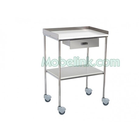 mesa auxiliar clínica dos estantes melamina y barandilla