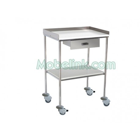 mesa clínica con cajón entrepaños melamina y con paragolpes