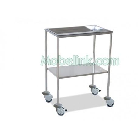 mesa auxiliar hospitalaria cromada superior bandeja con paragolpes