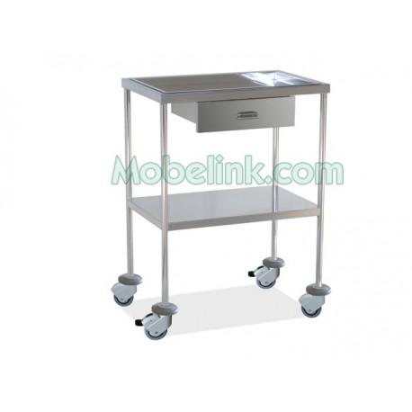 mesa auxiliar clínica cromada, con un cajón dos estantes inoxidable y con paragolpes