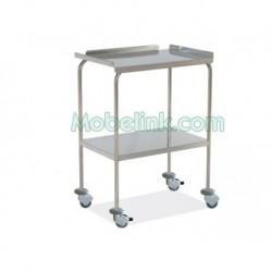 mesa auxiliar hospitalaria inoxidable superior reborde y con paragolpes