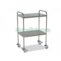 mesa auxiliar clínica con dos entrepaños y dos empujadores y con freno