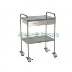 mesa auxiliar clínica inoxidable con 2 cajones y paragolpes