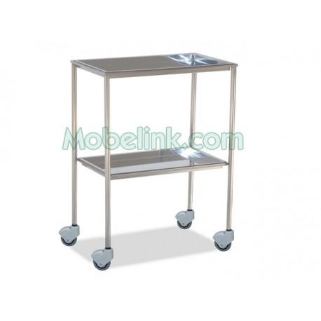 mesa auxiliar clínica inoxidable, con las dos bandejas extraíbles