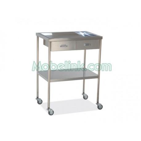 mesa auxiliar para hospitales en acero inoxidable con dos cajones