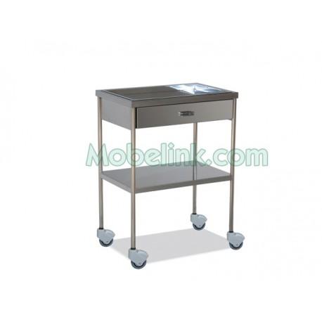 mesa auxiliar para clínicas en acero inoxidable y con un cajón