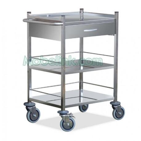 carro de urgencias hospitalarias con un cajón y 3 estantes
