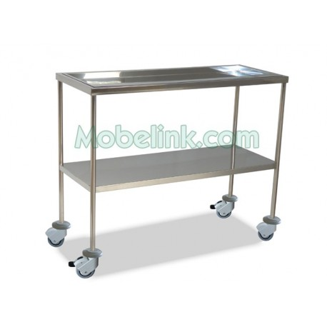 mesa instrumental cirugía superior bandeja inferior liso y con ruedas con freno