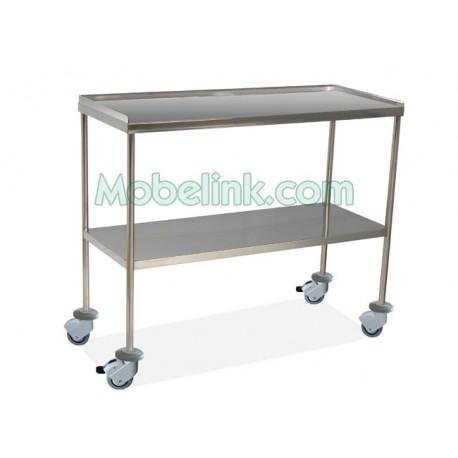 mesa instrumental cirugía, superior con reborde y ruedas con freno