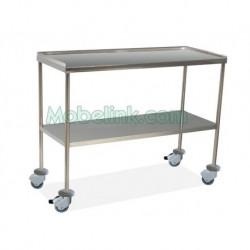 mesa instrumental quirúrgico superior con reborde y con paragolpes y 120 cm de largo
