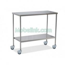 mesa instrumental clínico con dos estantes y de 90 cm de largo