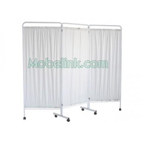 biombo separador para hospitales de tres cuerpos, con cortinas plastificadas