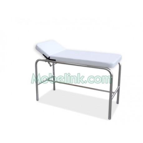 camilla pediátrica inoxidable tapizada en blanco