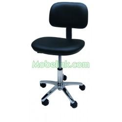 silla a gas base aluminio tapizada en negro