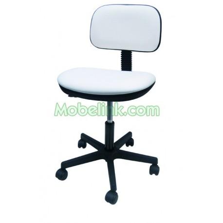 silla con ruedas base de plástico tapizado blanco