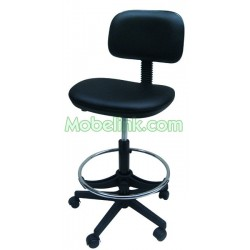 silla elevación a gas base de plástico aro cromo y tapizado negro