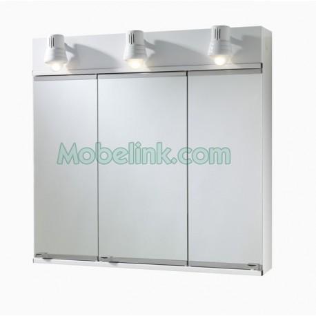 armario metálico baño 3 puertas espejo romi pintado en blanco